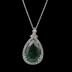 18K White Gold Emerald & Diamond Pear-Shape Pendant