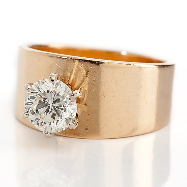 Diamond Solitaire Ring With Thick Band