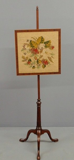 Victorian Mahogany Pole Screen With A Floral Needl