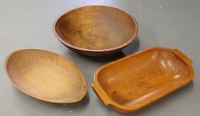 "Large Wood Bowl 18.5""dia., And Two Trenchers 20""l."