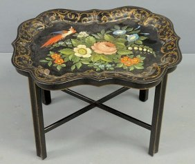Tole Decorated Tray With Hand Painted Flowers, Bir