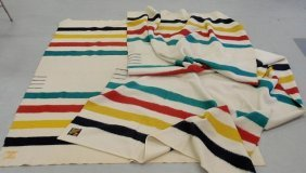 "Two Wool Blankets- Hudson Bay 4-point Classic 73""x"
