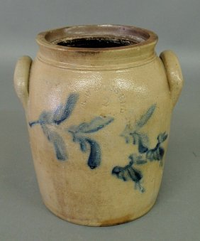 Two-gallon Stoneware Jar With Blue Floral Decorati