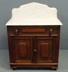 Victorian Walnut Washstand With Marble Top And Pan