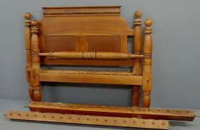 Pennsylvania Cherry Rope Bed, 19th C., With Cannon