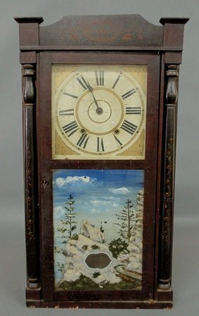 Mahogany Cased Shelf Clock With Stencil Decoration