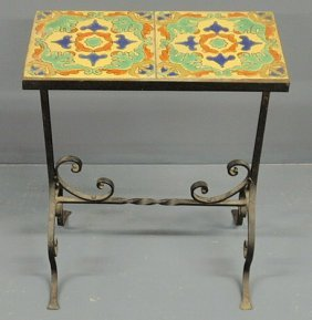 Wrought Iron Garden Table With A Double-tile Top.