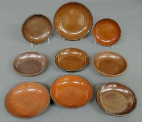 Nine 19th C. Pennsylvania Redware Pie Plates, Larg