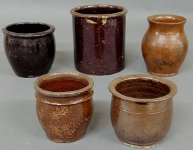 Five 19th C. Pennsylvania Redware Jars, Largest 6.