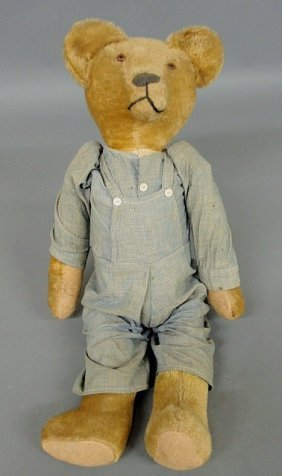 Large Early Honey Colored Mohair Stuffed Teddy Bea