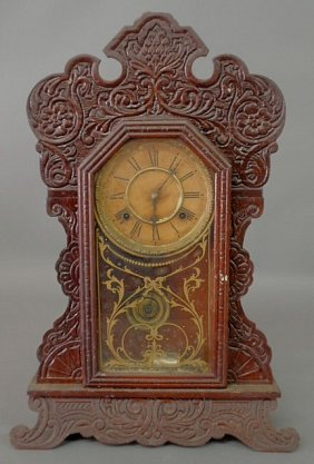 Carved Oak Gingerbread Mantel Clock By Waterbury C