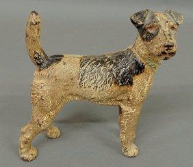 """Victorian Cast Iron Terrier Doorstop. 8.5""""h.x8""""l."""