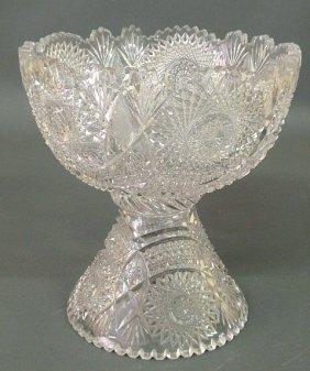 "Cut Glass Two-piece Punchbowl, 20th C. 11.25""h.,10"