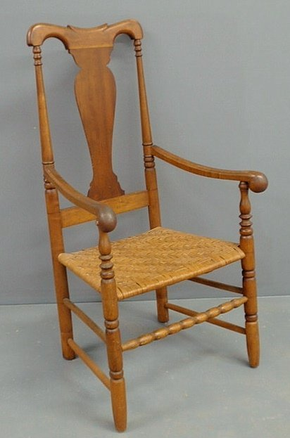 412 New England Queen Anne Maple Open Armchair Lot 412