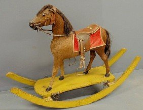 Large German Horsehide Rocking Horse, Late 19th C.