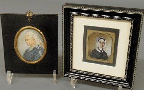 Two Miniature Watercolor Portraits, 19th C., Oval