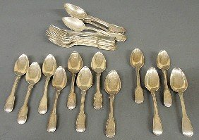 "Set Of Eight Georgian Silver Spoons 7""l. Probably"