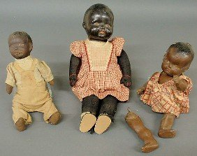 Three African American Character Dolls, C.1900, Wi
