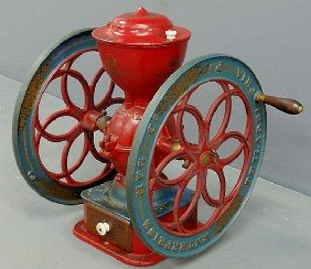 "Cast Iron Enterprise Coffee Mill, Repainted. 23""h."
