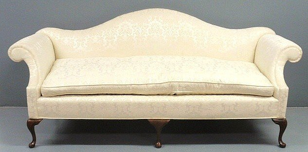 260 Queen Anne Style Mahogany Camelback Sofa By Southw Lot 260