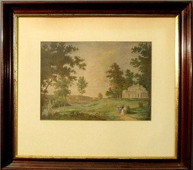Gouache Painting, 19th C. American School, Titled