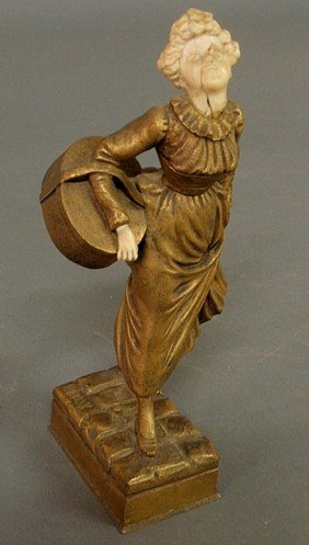 Bronze Figure Of A Woman Carrying A Basket, Signed