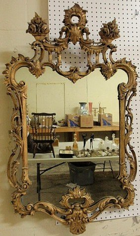 "George III Carved Giltwood Mirror, C.1790. 44""h.x2"