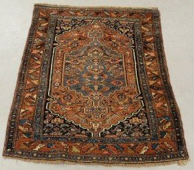 Persian Oriental Mat With Overall Red Field And B