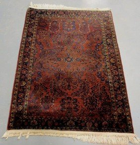 Sarouk Oriental Hall Mat, Red Field And Blue Floral