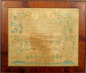 Silk On Linen Sampler Wrought By Lucy Peirce, Age