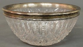 Cut Glass Centerpiece Bowl With A Sterling Silver