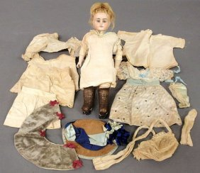 Bisque Head Doll, 19th C., With A Stitched Kid Le