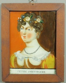 Continental Reverse Painted On Glass Portrait Of