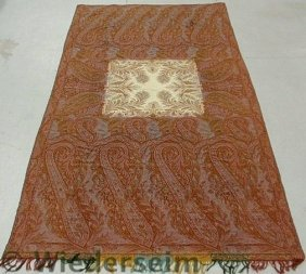Large Paisley Homespun Table Cover With A Square
