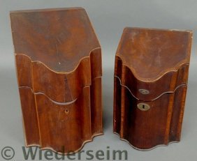 Two Georgian Inlaid Mahogany Knife Boxes. As Foun