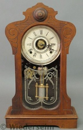Victorian Walnut Mantel Clock With Alarm And Merc