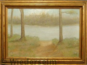 Oil On Canvas Landscape Painting Of A Riverbank L