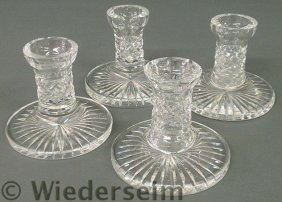 Set Of Four Signed Waterford Crystal Candlesticks