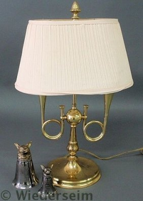 Brass Double-arm Hunting Horn Lamp, 22�h., And Tw