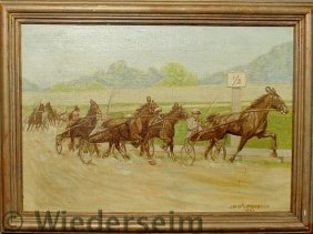 Oil On Canvas Painting Of A Trotter Race With The