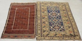 Two Antique Oriental Hall Mats, One Red & One With B