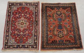 Two Small Sarouk Oriental Mats, Each Approx. 3�x2�2�