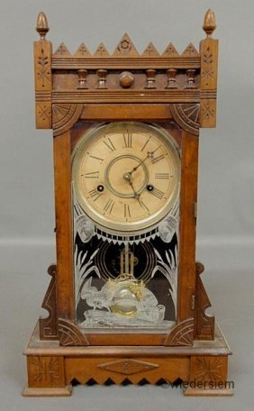 Victorian Walnut Shelf Clock With Acorn Finials. 21