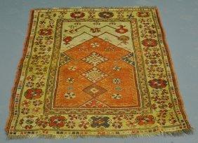 """Turkish Oriental Prayer Mat, C.1890. 3'5""""x4'5"""""""