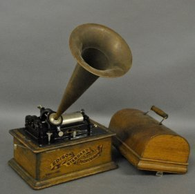 Edison Standard Phonograph. No Crank. Oak Box