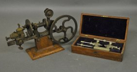 Brass/metal Manual Lathe With A Maple Base,