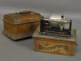 Oak Cased Graphophone With Original Stencil Decoration
