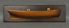 Laminated Pine Half-hull Model Mounted On A Mahogany