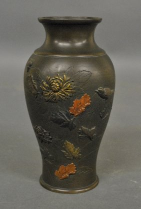 Asian Bronze Vase With Relief Decoration Of Flowers And