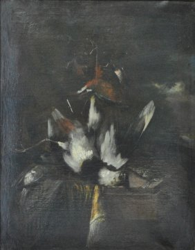 Oil On Canvas Still Life Painting Of Dead Birds, 19th